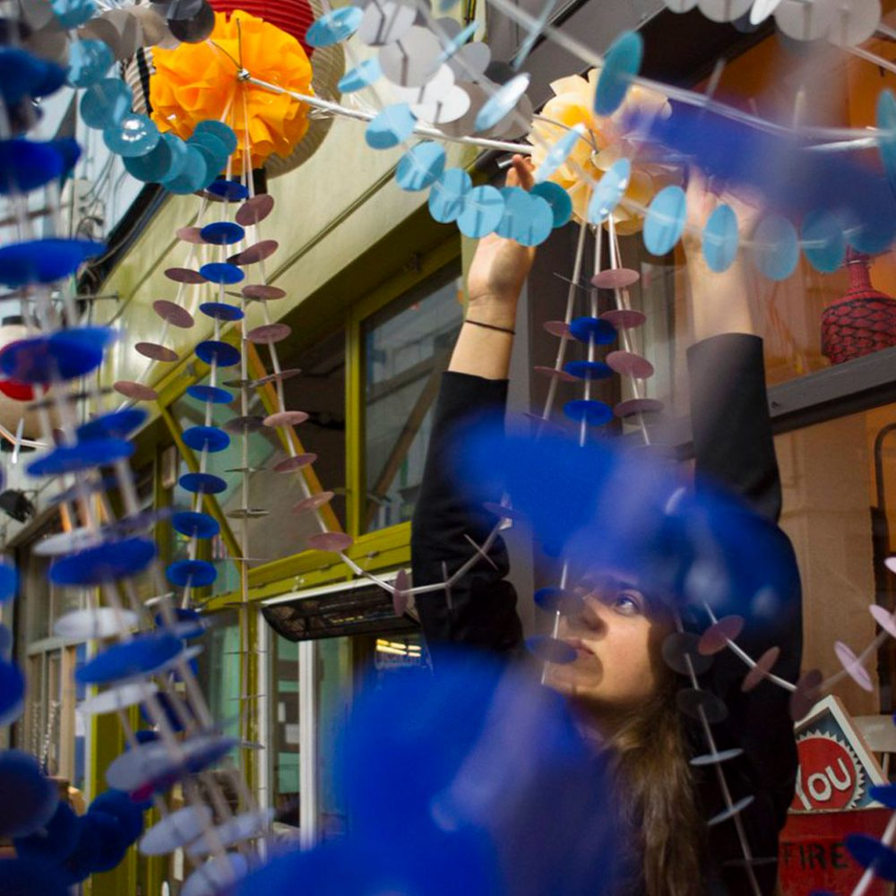 Brixton Design Trail 2016 - Pajaki 'Spiders of straw' chandeliers by Bobbin & Bow and Brixi installed in Brixton Village